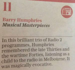 Newspaper snippet from The Telegraph's Top 30 Artistic Triumphs