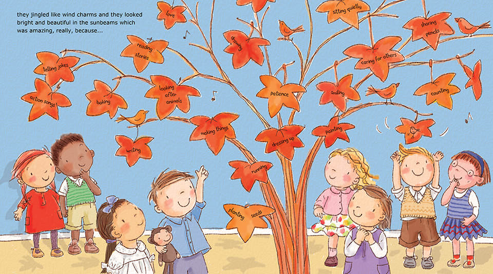 The copper leaves jingled like wind charms and they looked bright and beautiful.