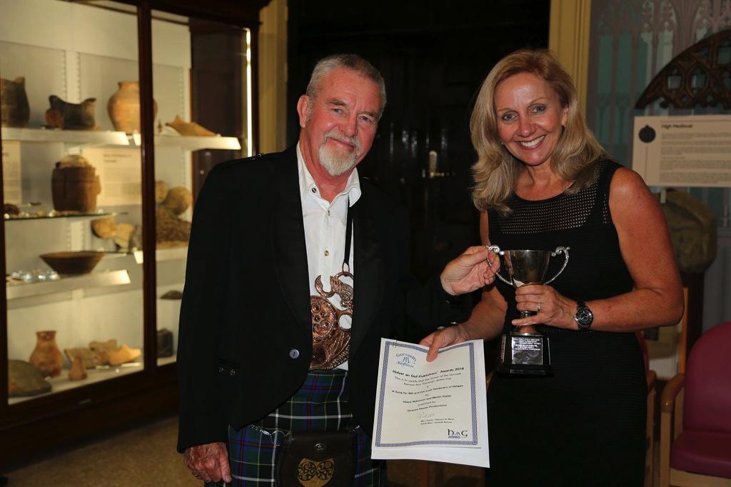 Hilary Robinson receiving the Gorsedh Kernow Ann Trevenen Jenkin Cup Author Award, 2018.